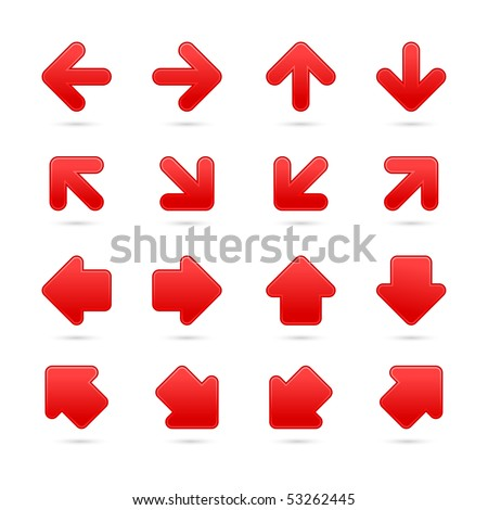 Matted satin red arrow sign symbol web icon button wirh gray drop shadow isolated on white background