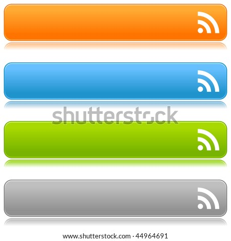 Matted satin color buttons with RSS symbol on a white background