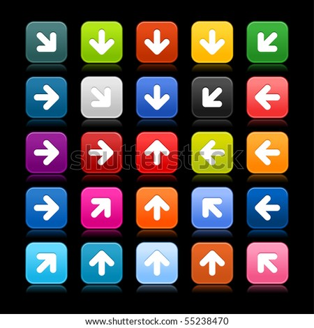 Matted web 2.0 button with arrow sign on black background. Colored rounded square shapes with reflection. - stock vector