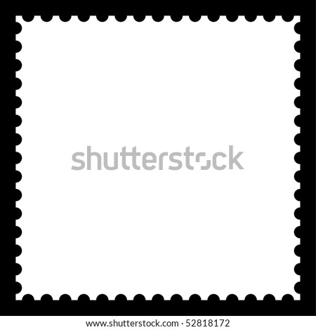 Satin smooth matted white empty postage stamp with shadow on black background