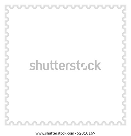 Matted white blank postage stamp with shadow on white