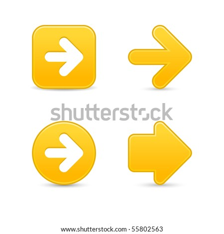 Matted yellow arrow sign web 2.0 buttons with shadow on white background
