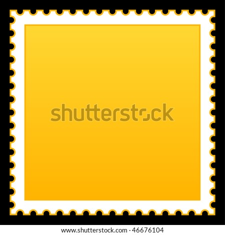 Satin smooth matted yellow empty postage stamp on black background