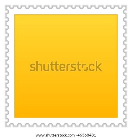 Satin smooth matted yellow blank postage stamp with shadow on white background
