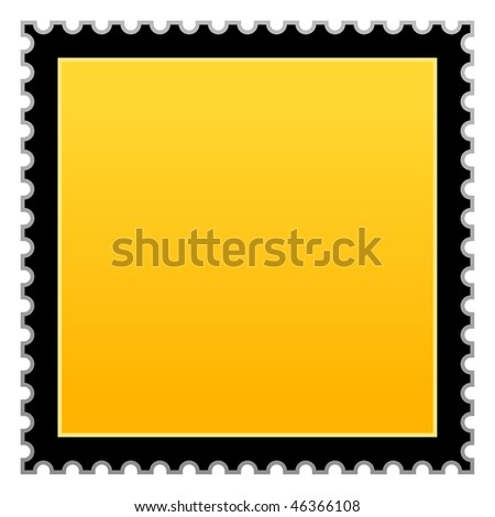 Satin smooth matted yellow hazard warning blank postage stamp on white background