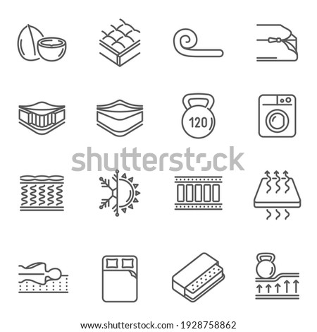Mattress features thin line icons set isolated on white. Spine support, washable cover, pressure, innerspring, foam outline pictograms collection. Bedding properties vector elements for web. Foto stock ©