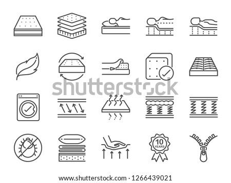 mattress line icon set