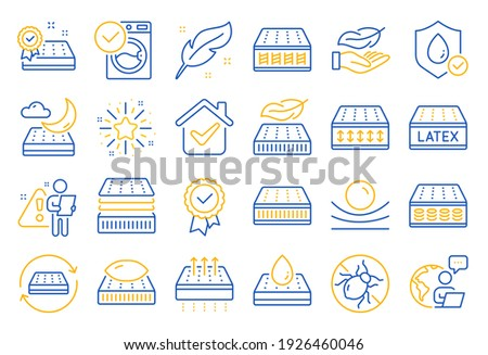 Mattress line icons. Breathable, washable, latex. Memory foam, pillow, bed tick icons. Light weight, natural material, pocket sprung mattress. Bed mite, antiallergic latex. Line icon set. Vector
