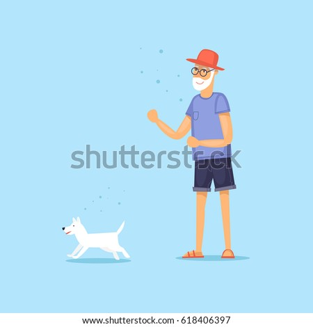 Mature man walking a dog. Vector illustration flat style. #618406397