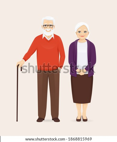Mature senior couple in casual outfit standing. Old man and woman, grandparents isolated vector illustration.