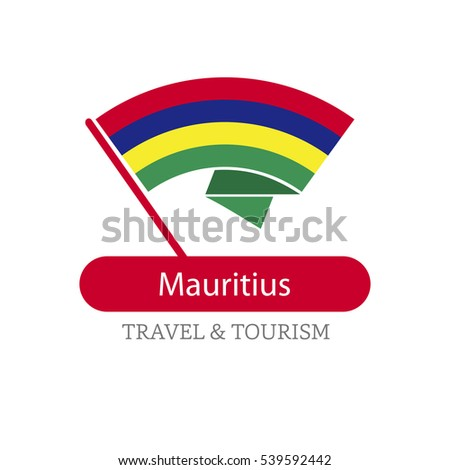 Mauritius The Travel Destination logo - Vector travel company logo design - Country Flag Travel and Tourism concept t shirt graphics - vector illustration