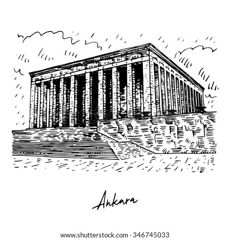 Shutterstock Mausoleum of Ataturk. Ankara, Turkey. Vector freehand pencil sketch.