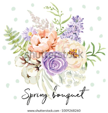 mauve spring bouquet on the