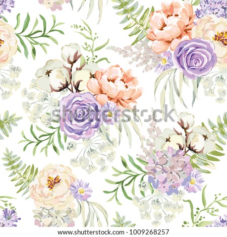 mauve spring bouquets on the