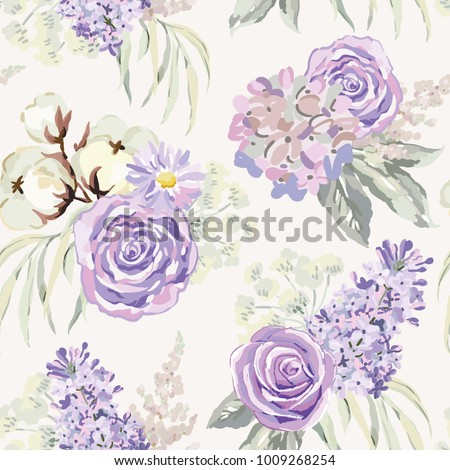 Mauve spring bouquets with roses, lilac, cotton and gray leaves on the light background. Vector seamless pattern with delicate flowers. Cottage garden.