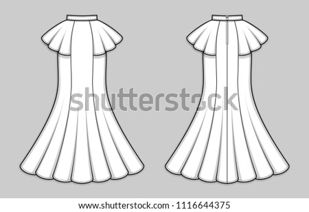 Maxi mermaid skirt with peplum waist, back zip clasp. Long formal gored skirt with flared hemline, banded waist. Back and front. Technical flat sketch, vector.