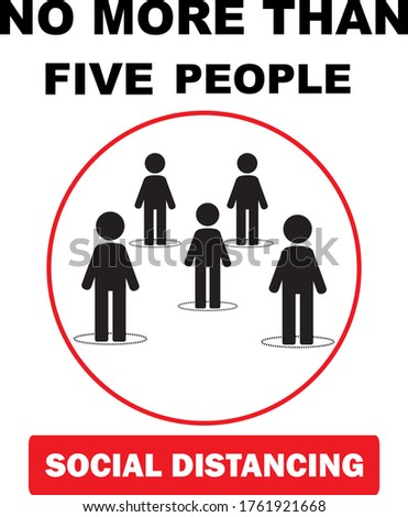 Maximum five people allowed in the shop lift or elevator store at one time signage, sign for shops to protect from Coronavirus or Covid-19 vector graphic. Social distancing Photo stock ©