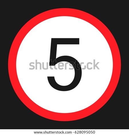 maximum speed limit 5 flat icon