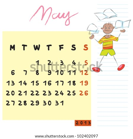 may 2013, calendar design with the knowledgeable student profile for international schools