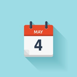 May  4. Calendar icon.Vector illustration,flat style.Date,day of month:Sunday,Monday,Tuesday,Wednesday,Thursday,Friday,Saturday.Weekend,red letter day.Calendar for 2017 year.Holidays in May.