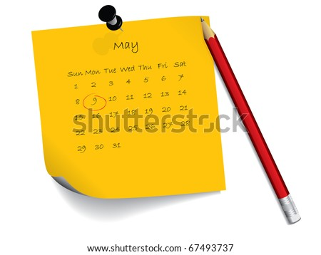 May calendar on notepaper