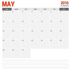 May Calendar Planner 2016 Vector Design Template. Week Starts Sunday. vector illustration