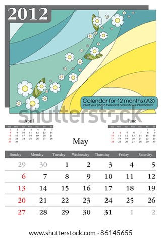 May. 2012 Calendar. Times New Roman and Garamond fonts used. A3
