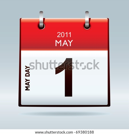 May day calendar icon with red banner top and blue background