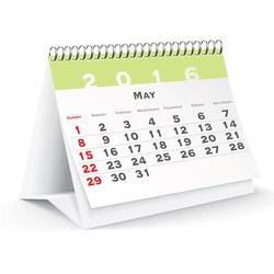 May 2016 desk calendar - vector illustration