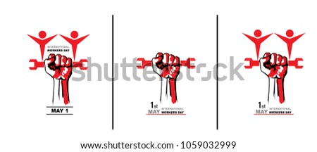 May first International Workers Day. International Workers Day with creative Vector illustration on white  background.