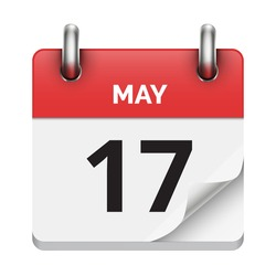 May 17 flat daily realistic calendar icon date vector image