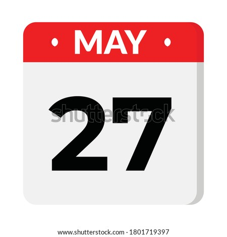 May 27 flat style calendar icon
