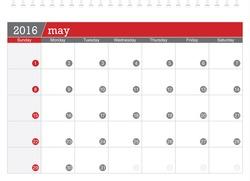 May 2016 planning calendar