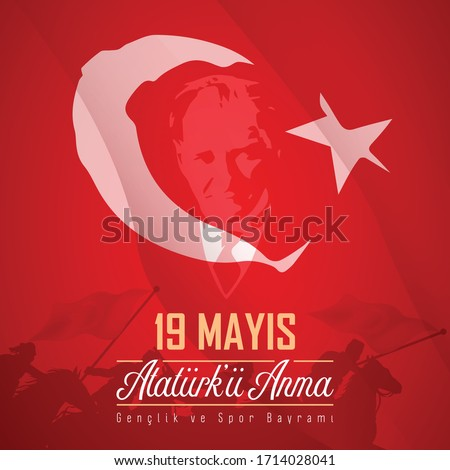 May 19, Remembrance of Atatürk, Youth and Sports Day, vector celebration image
