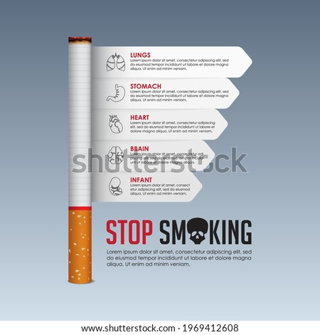 May 31st World No Tobacco Day banner design. Cigarette poisoning concept. Stop smoking poster for awareness campaign. Danger from the tobacco infographic. No Smoking Day Banner. Vector Illustration.