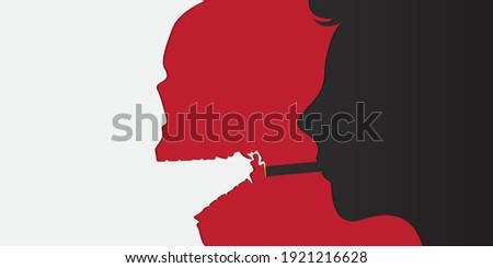 May 31st World No Tobacco Day banner design. Man smoking cigarette and smoke turned into a skull to convey the dangers of smoking. Stop smoking poster for disease warning. No smoking sign. Vector.