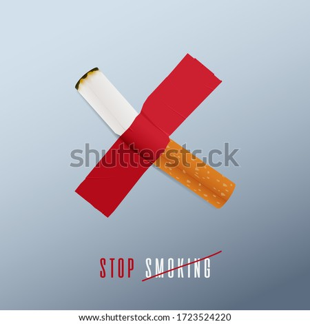 May 31st World No Tobacco Day concept design. No Smoking Day poster. Stop smoking sign for awareness infographic. Cigarette was duct-taped on the wall defines to stop smoking. Poster or Banner Vector