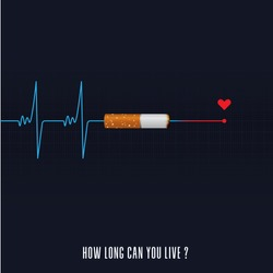 May 31st World No Tobacco Day concept design. The heartbeat after you smoke shows that you are dead. No smoking sign. No smoke icon. Stop smoking symbol. Poster or Banner Vector Illustration.