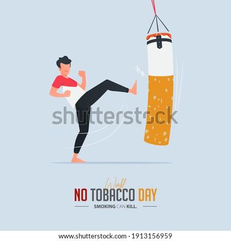 May 31st World No Tobacco Day poster design. A man kicking a boxing sandbag defines to a man is fighting to quit smoking. Stop smoking poster for disease warning. No smoking banner. Cartoon Vector.