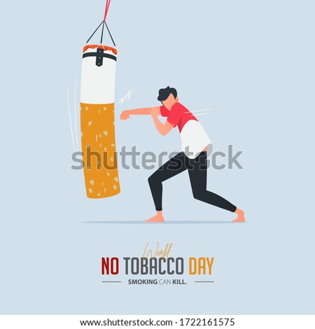 May 31st World No Tobacco Day poster design. A man punching a boxing sandbag defines to a man is fighting to quit smoking. Stop smoking poster for awareness campaign. No smoking banner. Cartoon Vector