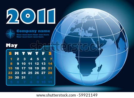 May - the Earth blue calendar for 2011, weeks starts on Sunday