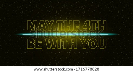 May the 4th be with you holiday greetings vector illustration with text on night space background with glowing stars.  May the fourth be with you lettering. star wars day poster design template