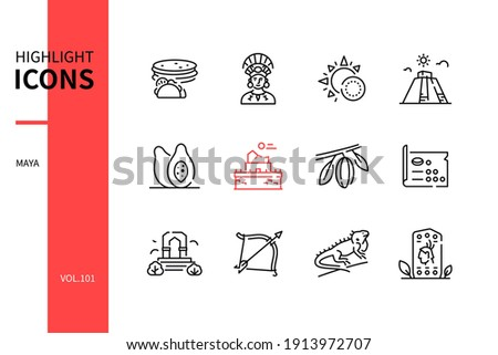 Maya - modern line design style icons set. Mayan culture, arts and craft, religious signs and symbols, history idea. Tortillas, person, astronomy, kukulcan, papaya, maths, arch, iguana, stela images Foto d'archivio ©