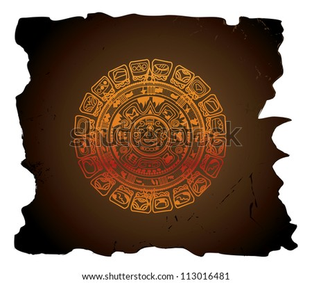 Mayan calendar, circular, vector illustration - stock vector