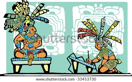 Mayan King on throne being recorded by scribe.