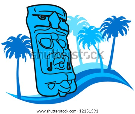 Mayan Mask With Water Waves And Palms Stock Vector ...