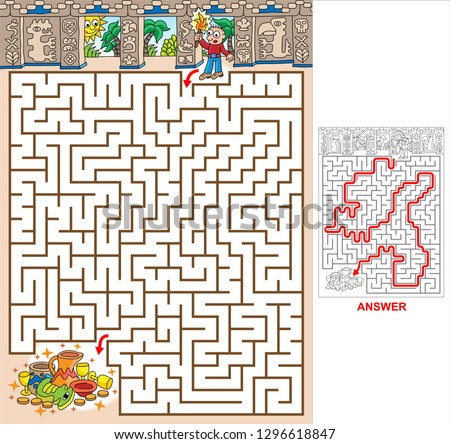 Mayan pyramid. Find a path to Mayan treasure. Vector illustration of labyrinth, maze with entry and exit. Labyrinth for kids.