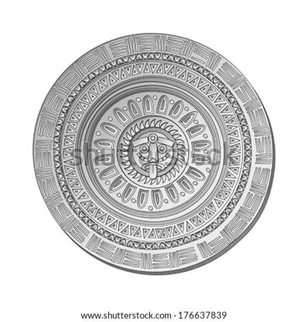 mayan sun stone symbol over