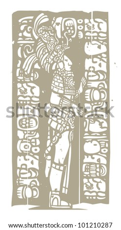 Mayan warrior designed after Mesoamerican Pottery and Temple Images