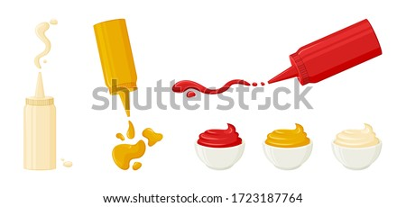 Mayonnaise, mustard, tomato ketchup. Sauces in bottles and bowls. Various hot spice sauces spilled strips, drops and spots. Vector illustration Stockfoto ©